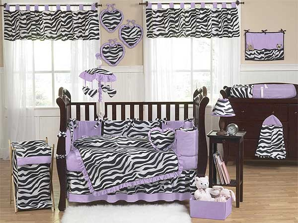 Purple Zebra Crib Bedding Set by Sweet Jojo Designs - 9 piece