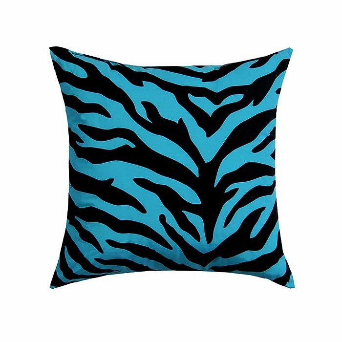 Blue Zebra Print Square Accent Pillow