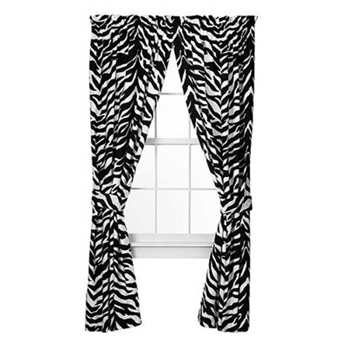 Kimlor Black & White Zebra Curtain Panels