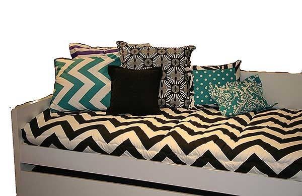 Zippy 12 X 16 Boudoir Pillow Turquoise Dot center w/Zebra Black Trim by California Kids