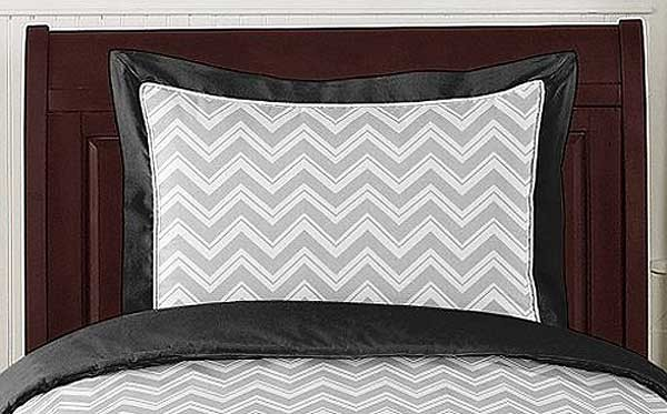 Zig Zag Black & Gray Chevron Print Pillow Sham