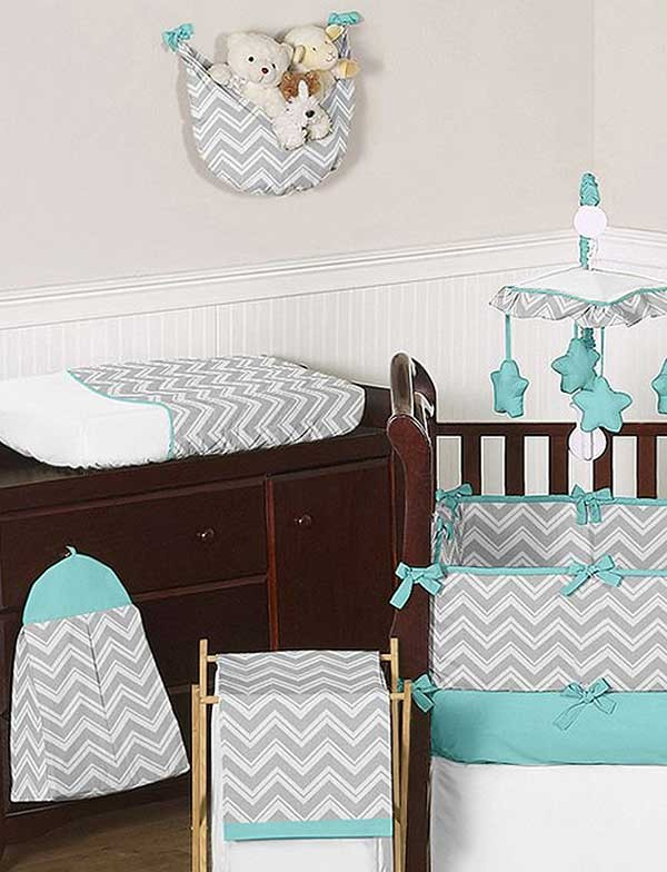Gray And Yellow Daybed Bedding : Zig zag turquoise gray chevron print crib bedding set