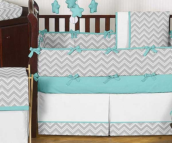 zig zag turquoise & gray chevron print crib bedding set - blanket