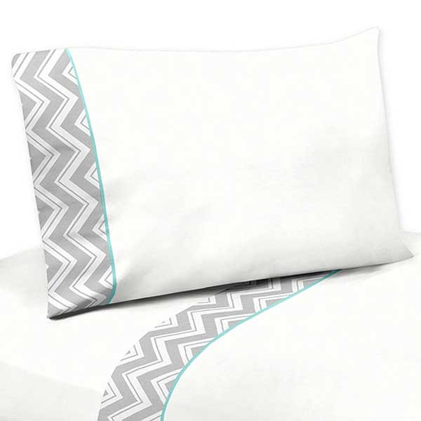 Zig Zag Turquoise & Gray Chevron Print Twin Size Sheet Set