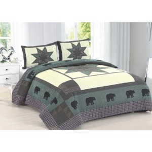 Bear Crossing Quilt Set - Full/Queen Size - Includes Shams