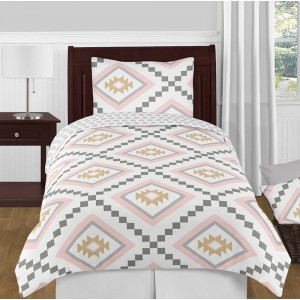 Aztec Pink & Gray Bedding Set - 4 Piece Twin Size By Sweet Jojo Designs