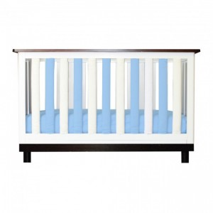 Wonder Bumper Vertical Crib Liners - Organic Cotton - Blue & White