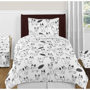 Fox Black & White Bedding Set - 4 Piece Twin Size By Sweet Jojo Designs