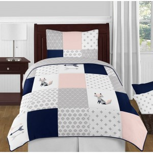 Fox Patch Pink & Navy Bedding Set - 4 Piece Twin Size By Sweet Jojo Designs