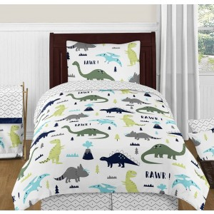 Mod Dinosaur Blue & Green Bedding Set - 4 Piece Twin Size By Sweet Jojo Designs