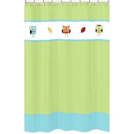 Hooty the Owl Lime Green Shower Curtain