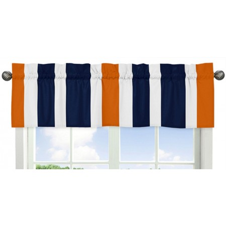Navy & Orange Stripe Valance - Striped