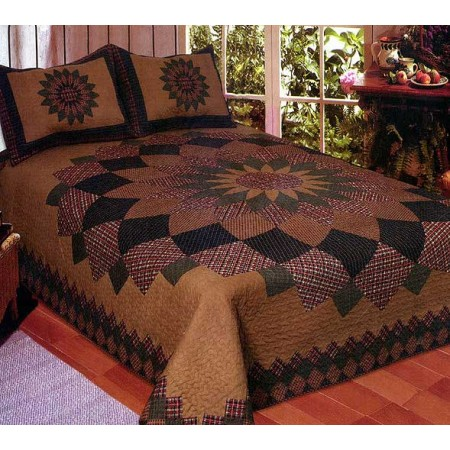 Alexandra Dahlia Quilt Set - Full/Queen Size - Includes Shams