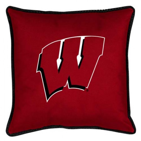 "Wisconsin Badgers Toss Pillow - 18"" X 18"" Sideline Toss Pillow"