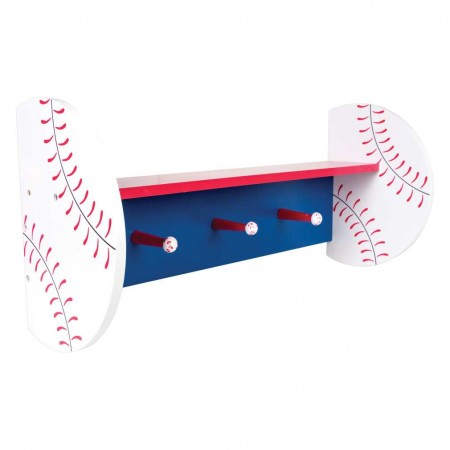 BASEBALL - WALL SHELF WITH PEGS