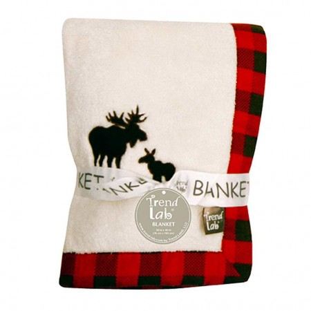 Northwoods Framed Receiving Blanket With Moose Applique