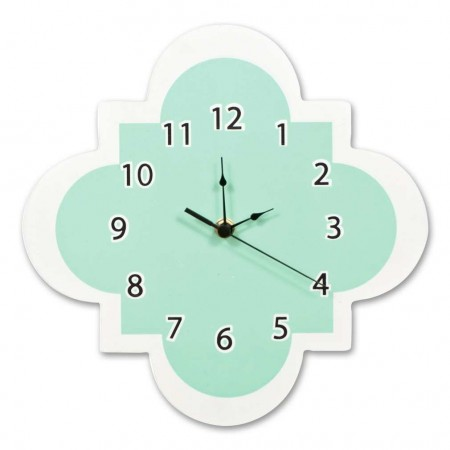 Mint Quatrefoil Wall Clock