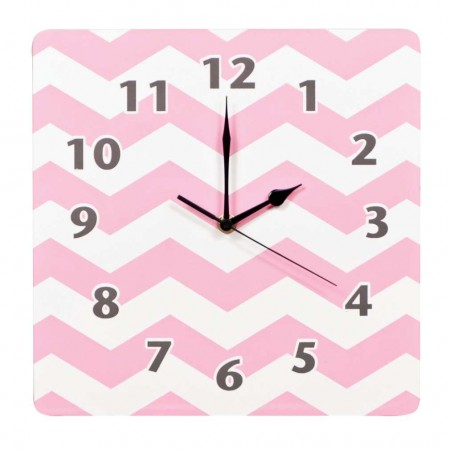 Pink Sky Chevron Wall Clock