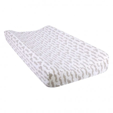 Mustache Deluxe Flannel Changing Pad Cover