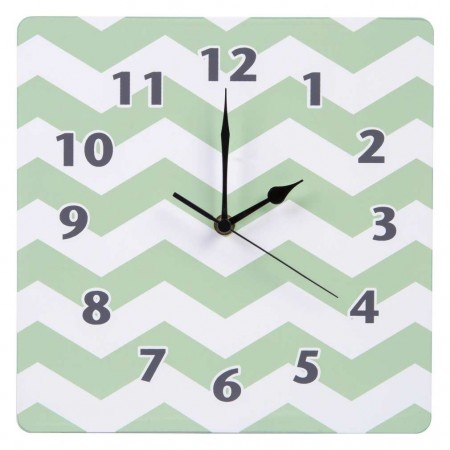 Sea Foam Chevron Wall Clock