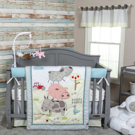 Farm Stack 4 Piece Crib Bedding Set