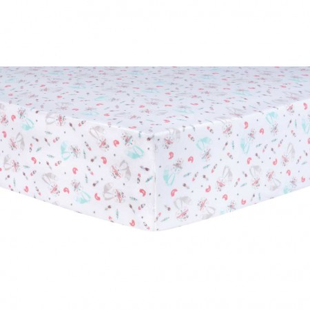 Fox and Flowers Fitted Crib Sheet