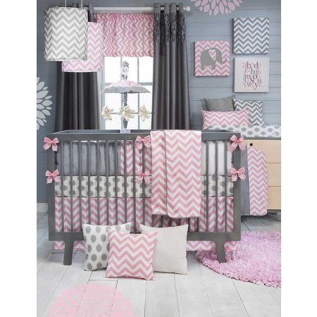 Swizzle Pink 3 Piece Crib Set
