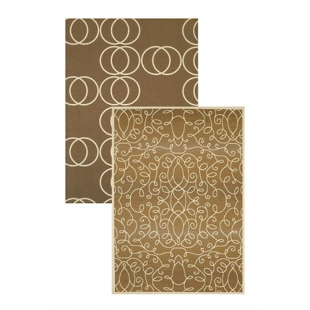 "Scrolling Circles Beige 61"" Width X 82"" Length Area Rug"