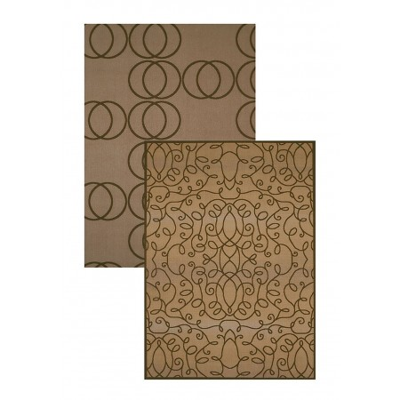 "Scrolling Circles Taupe 61"" Width X 82"" Length Area Rug"