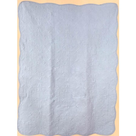 Harmonious Mist Throw Size Quilt - Light Blue