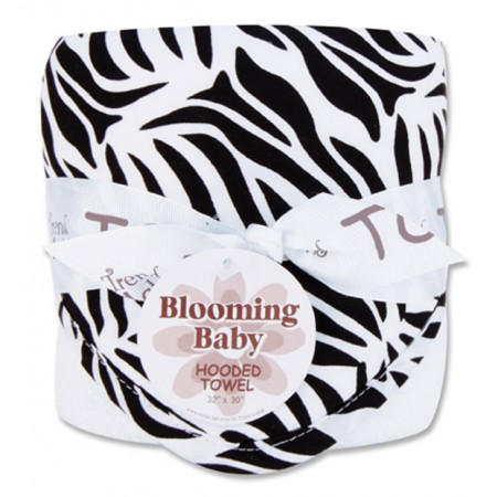 Bouquet Hooded Towel - Black & White Zebra