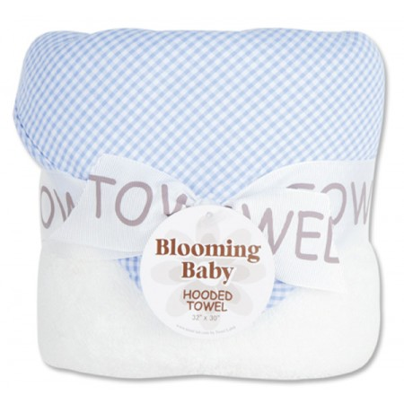 Bouquet Hooded Towel - Gingham Seersucker Blue