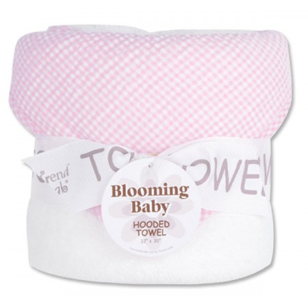 Bouquet Hooded Towel - Gingham Seersucker Pink
