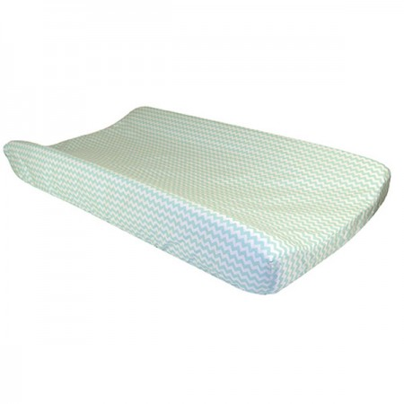 Changing Pad Cover - Mint Green And White Chevron