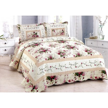 Spring Rose Quilt Set - Full/Queen Size - Includes Shams