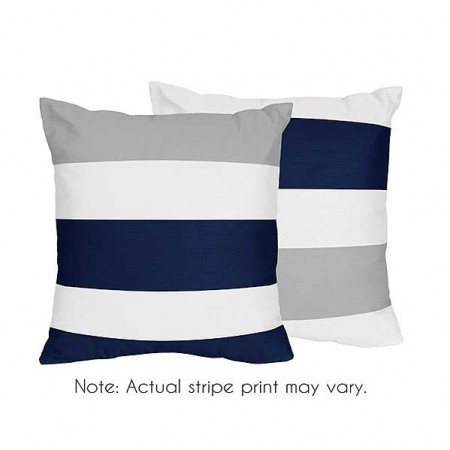 Navy & Gray Stripe Accent Pillows - Set of 2