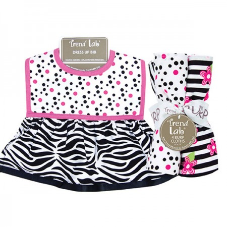 Dress Up Bib And Burp Cloth Set - Zahara Zebra