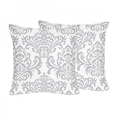 Gray & White Damask Accent Pillows - Set of 2
