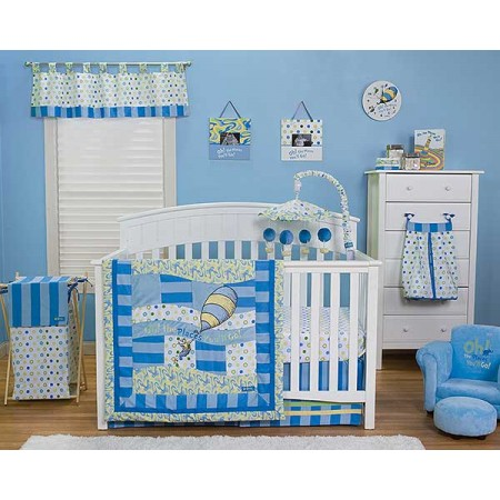DR. SEUSS BLUE OH, THE PLACES YOU'LL GO! - 3 PIECE CRIB BEDDING SET