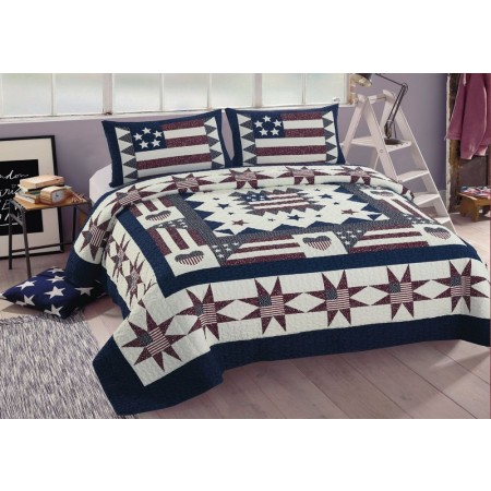 Great American Quilt Set - Full/Queen Size - includes 2 Standard Pillow Shams