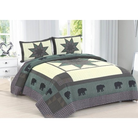 Bear Crossing King Size Quilt Set - Includes 2 Standard Pillow Shams