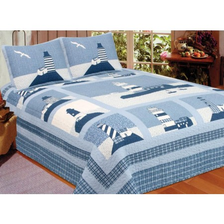 Lighthouse Quilt Set - Twin Size - Includes Sham