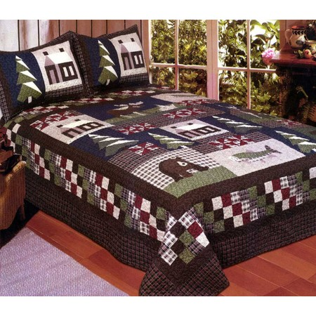 Mountain Trip Quilt Set - Full/Queen Size - Includes 2 Pillow Shams