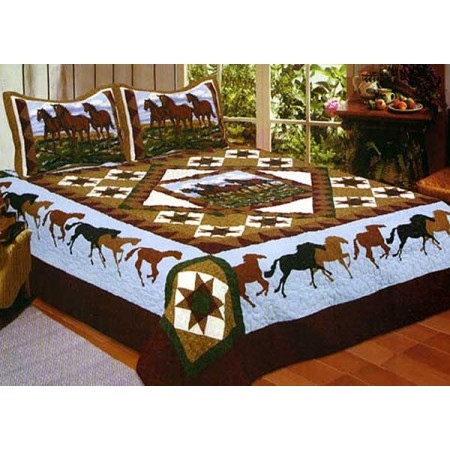 Horse Whisper Blue Quilt - Full/Queen Size