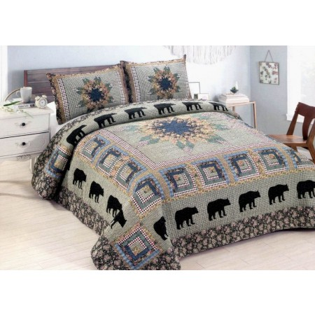 Black Bear Forest Quilt Set - Full/Queen Size - Includes 2 Pillow Shams