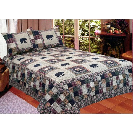 Black Bear Medley Quilt Set - Full/Queen Size - Includes 2 Pillow Shams