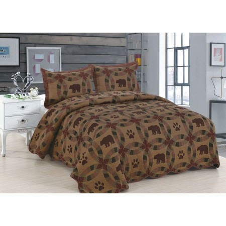 Dark Black Bear King Size Quilt Set - Includes 2 Standard Pillow Shams