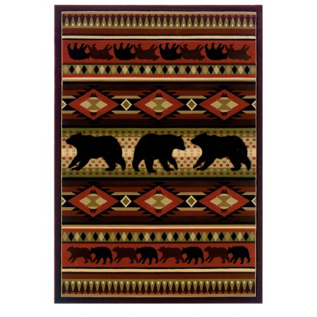 Native Bear Terracot Area Rug - Cabin Style