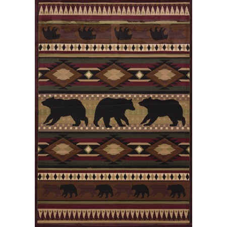 Native Bear Toffee Area Rug - Cabin Style