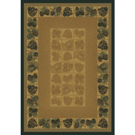 Pine Cones Natural Area Rug - Cabin Style